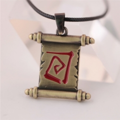 Game Dota 2 Necklace Logo Transfer Roll Sleeve Necklace Bronze Alloy Pendant Jewelry Gift man women fans