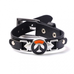 New Game Overwatch Leather LOGO Punk Bracelet Wristband Cosplay Jewelry