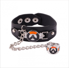Game Overwatch Charm Logo Bracelet Ring Set