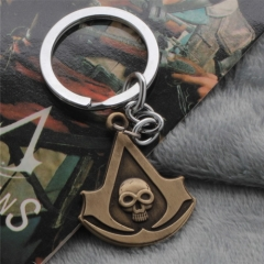 Game Assassins Creed Logo Keychain Choker Necklace Skull Pendant Keyring