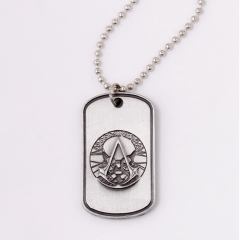 Game Assassins Creed Hidden Blade Necklace Skeleton Deiss Mond Silver Skull Logo Keychain