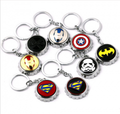 8 types Super Hero Captain America Iron Man Batman Superman X-Men Star Wars Logo Beer Opener Keychain car key ring Gift