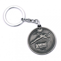 Movie Jewelry Star Wars Keychain Round X-WING Fighter T-70 Key Chain Keyring