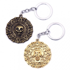 Movie Pirates of the Caribbean Aztec Gold Coin Keychain Skull Keyring