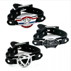 Movie Jewelry superhero Iron Man Captain America Spider-Man Logo Leather Bracelets Cosplay Jewelry