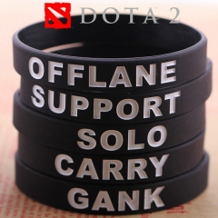 Game Dota 2 ID Silicone Rubber ID Bracelet 5 Styles Wristband Carry Gank Solo Support Offlane Bangle