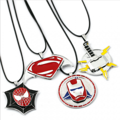 Marvel Super Hero Spider-Man Superman Iron Man Thor Symbol Rotatable Necklace