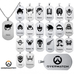 23 style Hot Game Overwatch Hero Logo Necklace Tracer Reaper Orisa Key Holder Keyring