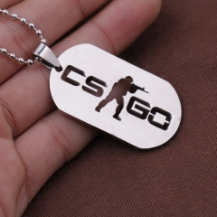 Game CSGO Counter-Strike Necklace Logo Stainless Steel Keychain Keyring