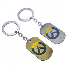 Hot Games OW Overwatch Dog Tag Metal Logo Pendant Keychain Key Holder Keyring