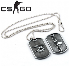 Game CS Go T/CT team Logo Dog Tag Pendant Necklace Keychain Key Ring