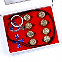 10pcs/set Game Assassin's Creed Necklace Rings Boxed 3 Colors Keyring Drop Shipping