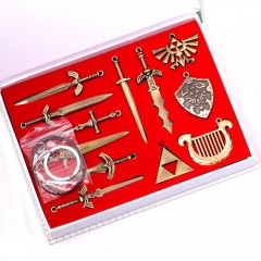 12pcs/set The Legend of Zelda Skyward Sword Necklace Weapon Keyring Keychain Set With Box