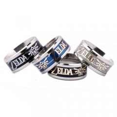 4 color Game Legend of Zelda Logo Ring For Men Women Titanium Steel Frosted Wedding Party Ring