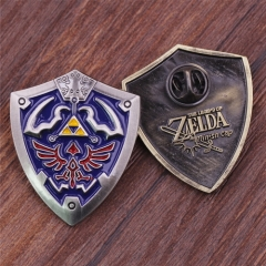Game The Legend of Zelda Badge Ocarina of Time Shield Logo Cosplay Popular Brooch