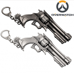 Hot Game Overwatch Weapon Gun Key Chain Cool Metal Pistol Keychain Key Rings For Men 3D Metal Model