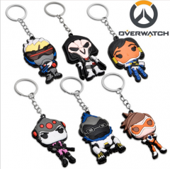 New Game Overwatch Heroes Tracer Reaper Solider 76 Widowmaker Pharah Winston OW Figures Keychain