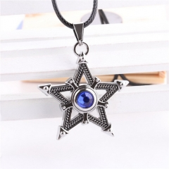 Anime Black Rock Shooter Five Pointed Star Necklace Rhinestone