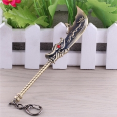 15cm Game League Of Legends Weapon Keyring LOL Green Dragon crescent moon blade Sword Model Pendant Keychain