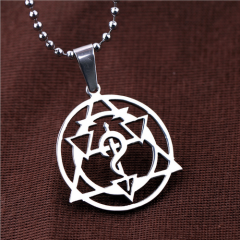 Anime Fullmetal Alchemist Necklace Symbol Pendant keyring Edward Hollow Magic Circle Keychain