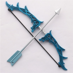16cm Game LOL the Prodigal Explorer Ezreal Bow & Arrow Weapon Keychain Pendant Model Charm Gift Souvenir for women man