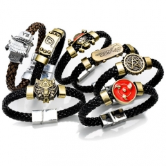 7 types Anime Game Bracelet One Piece Attack on Titan Naruto Black Butler Conan Final Fantasy Weave Bangle Charm Gift