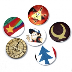 6 types Anime Movie TV Series Gravity Falls Badge Dipper Pines Mabel Pines Bill Cipher The Zodiac Logo Pin