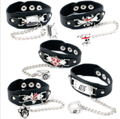 5 type Anime Attack On Titan One Piece Naruto Bleach Bracelet Ring Set Charm Jewelry Symbol Logo Wristband