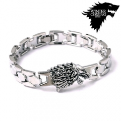 Movie Game of Thrones Bangle Song of Ice Fire House Stark of Winterfell Wolf Head Logo Bracelet