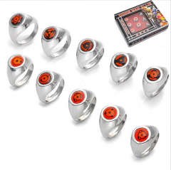 Anime Naruto Sasuke Konoha Kaleidoscope Written Round Eye Ring 10pcs/Set
