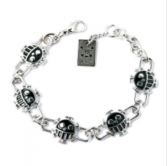 Anime One Piece Ace Smile Trafalgar D Stainless Steel Skull Bracelet