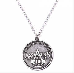 Game Assassin's Creed 3 Logo Keychain Key Holder Necklace Souvenir