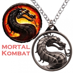 Hot Game Mortal Kombat Bahamut Dragon Logo Keyring Necklace