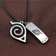 Anime Naruto Necklace Leaf Village Symbol Konoha mark headband Cosplay Necklace