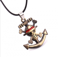 Anime One Piece Luff Skull Logo Necklace Straw Hat Pirates Pendant Necklace