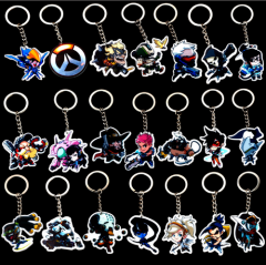 22 types Game Overwatch Keyring ow heroes Pharah Mccree Mei Solider 76 Tracer Reaper Winston Charm pendant Key Chains