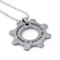 Game Gears of War necklace Gear logo keychain Pendant keyring Charm Cosplay Jewelry accessories For Fans