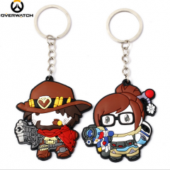 Hot Game Overwatch Heroes Jesse·Mccree Mei Silicone Keychain OW Character Figure Keyring Collection Cute Souvenir