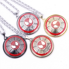 Movie Spider-Man Rotatable Logo Necklace Charm Pendant