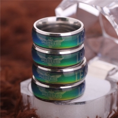 Game League of Legends Temperature Change Color Ring LOL Logo Titanium Steel Ring