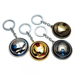 Movie Marvel Super Hero The Avengers Iron Man Mask Keychain Rotatable Keyring