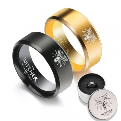Hot Game The Witcher 3 Ring Wild Hunt Medallion Gold Stainless Steel Ring for Men Punk Wolf Ring with Iron Gifts Box