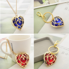 Game The Legend of Zelda blue and red heart pendant Necklace keychain keyrings