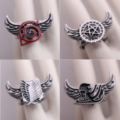 10 types Anime Ring Attack on Titan One Piece Bleach Fairy Tail Naruto Black Butler Final Fantasy Rotatable Ring Gift