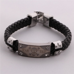 Hot Anime One Piece Vintage Skull Skeleton Logo Bracelet Weave Bangle