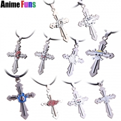 17 types Anime Game Cross Choker Necklace One Piece Final Fantasy Black Butler Conan Naruto Bleach Death Note Pendant drop-shipping