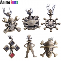 10 types Anime One Piece Choker Necklace Skull Steering Wheel Helm Luffy Pirate Ship Rudder Necklace Ships Wheel Gift