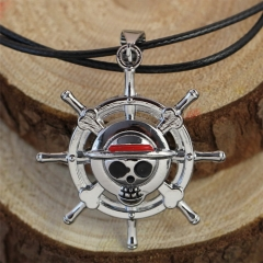 Anime One Piece Choker Necklace Collares Rudder Flag Skeleton Pendant Statement Necklace