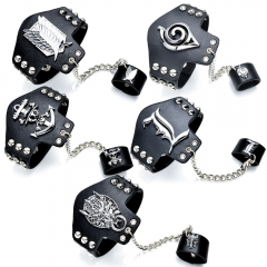 5 Styles Anime Game Bracelet One Piece Attack on Titan Naruto Bleach Final Fantasy Logo Punk Black PU Leather Bangle Ring Set