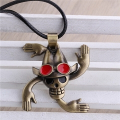 Anime One Piece Monkey D Luffy Hat Portgas Ace Roronoa Straw Hat Weapon Skull Necklace
